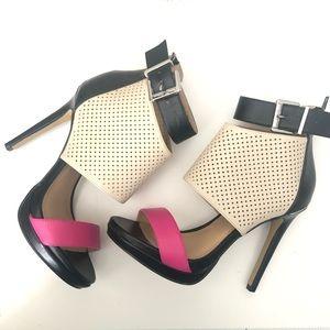 """Juicy 5"""" Heels Pink Black & Beige 5"""" heel Size 6M"""